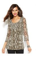 Inc International Concepts Embellished Snakeskin-print Tunic Top - Lyst