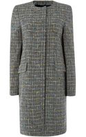 Paul Smith Black Label Collarless Checked Wool Coat - Lyst