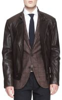 Brunello Cucinelli Leather Asymmetriczip Moto Jacket - Lyst