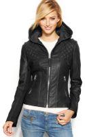 Michael Kors Michael Hooded Leather Motorcycle Jacket - Lyst