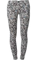 7 For All Mankind Butterfly Print Skinny Jeans - Lyst