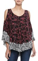 Free People Cold-shoulder Printed Blouse - Lyst