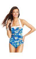 Lauren by Ralph Lauren Floralprint Ruched Onepiece Swimsuit - Lyst