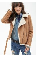 Forever 21 Faux Shearling  Faux Suede Aviator Jacket - Lyst