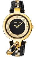 Versus  Womens Key Biscayne Goldtone Zippered Black Leather Strap Watch 38mm Sob06 - Lyst