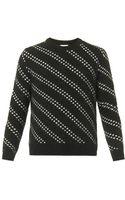 Saint Laurent Dotstripe Crewneck Sweater - Lyst