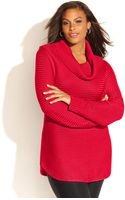Calvin Klein S Plus Size Ribbed-knit Sweater - Lyst