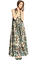 Yvonne S Organic Cotton Camouflage Long Dress - Lyst
