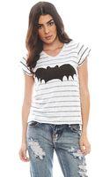 Zoe Karssen Bat Stripe Relaxed Fit V Neck Short Sleeve Tee - Lyst