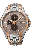 Seiko Mens Chronograph Solar Twotone Stainless Steel Bracelet Watch 43mm Ssc250 - Lyst