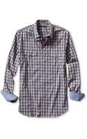 Banana Republic Slim Fit Checkered Utility Shirt Washed Indigo - Lyst