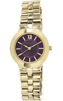 Anne Klein Goldtone Bracelet Watch with Deep Violet Dial - Lyst