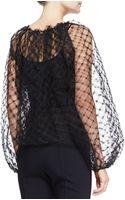 Oscar de la Renta Longsleeve Lace Blouse Black - Lyst