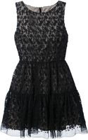 RED Valentino Embroidered Pleated Dress - Lyst