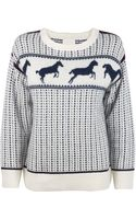 Band Of Outsiders Ivory Faire Isle Horses Sweater - Lyst