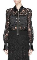 Givenchy Satin Trim Guipure Lace Bomber Jacket - Lyst