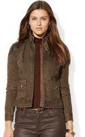 Lauren by Ralph Lauren Leather Trim Denim Jacket - Lyst