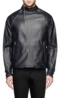 Paul Smith Removable Sleeve Leather Biker Jacket - Lyst