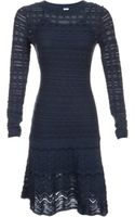 M Missoni Knit Drop Waist Dress with Sheer Sleeves - Lyst