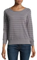 James Perse Striped Jersey Scoopneck Pullover - Lyst
