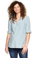 Gap Threequarter Chambray Shirt - Lyst