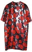 MSGM Metallic Floral Dress - Lyst