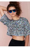 Nasty Gal Psyched Out Sequin Crop Tee - Lyst