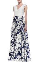 Aidan Mattox Sleeveless Floral Skirt Ball Gown - Lyst