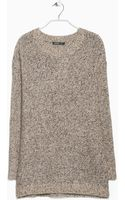 Mango Metallic Woolblend Sweater - Lyst