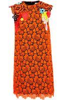 Christopher Kane Bright Orange Floral Macramé Dress - Lyst