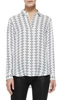 Theory Aquilina B Silk Buttonfront Blouse - Lyst