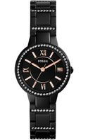 Fossil Womens Virginia Crystal Accent Blacktone Stainless Steel Bracelet Watch 28mm - Lyst