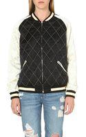 McQ by Alexander McQueen Mcq Quilted Silk Bomber Jacket Alexander Mcqueen Black - Lyst