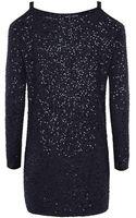 Donna Karan New York Sequinned Cold Shoulder Sweater - Lyst