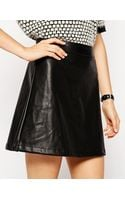 Asos A-line Skirt in Leather Look - Lyst