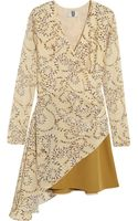 Topshop Unique Asymmetric Silkgeorgette and Wooltwill Mini Dress - Lyst