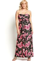 Ax Paris Curve Rose Print Maxi Dress - Lyst