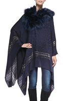 Roberto Cavalli Woven Poncho with Fur Collar - Lyst