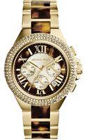 Michael Kors Ladies Goldtone Tortoise Camille Chronograph Glitz Watch - Lyst
