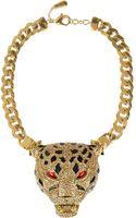 Roberto Cavalli Goldplated Swarovski Crystal Panther Necklace - Lyst