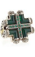 Konstantino Silver  Gold Green Agate Maltese Cross Ring - Lyst
