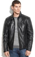 Guess Quilted Leather Moto Jacket - Lyst