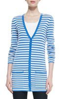 Michael Kors Super Soft Cashmere Striped Boyfriend Cardigan - Lyst