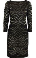 Roberto Cavalli Metallic Zebrajacquard Woolblend Mini Dress - Lyst
