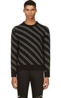 Saint Laurent Black Diagonal Stripe Wool Sweater - Lyst