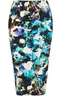 Topshop Bleach Out Floral Tube Skirt - Lyst