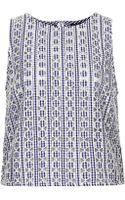 Topshop Cutout Gingham Shell Top - Lyst