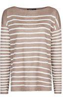 Mango Striped Linen Sweater - Lyst