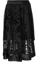 Sacai Layered Seethrough Printed Wrap Skirt - Lyst