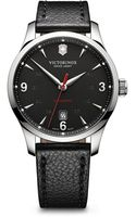 Victorinox Alliance Dark Gray Dial Black Leather Strap Watch 40mm - Lyst